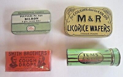 Lot of 4 different small and sample vintage medicine tins pills licorice medical