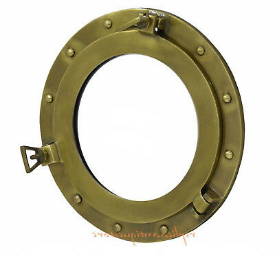 Brass Antique Finish Aluminum Porthole Window Ship Porthol Round Wall Mirror 17""