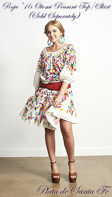 """ROJA ~ Embroidered Mexican Inspired """"OTOMI""""  Above Knee Skirt  ~XL LEFT!"""