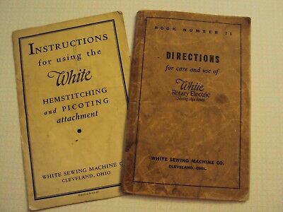 1937 Antique White Sewing Machine & Hemstitching Picoting directions booklets