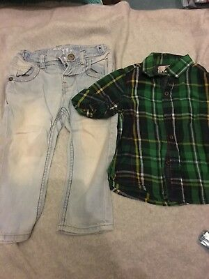 next boys bundle 9-12 months shirt and stone washed jeans preloved