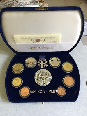 2002 Vatican rare official complete set euro coins PROOF With Sterling Medal