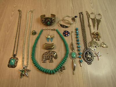 Lot of Silver Costume Jewelry Turquoise Colors Seashell Earrings AS IS