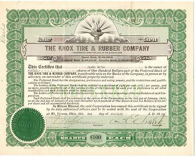 1921 Knox Tire & Rubber Co stock certificate used, Ohio