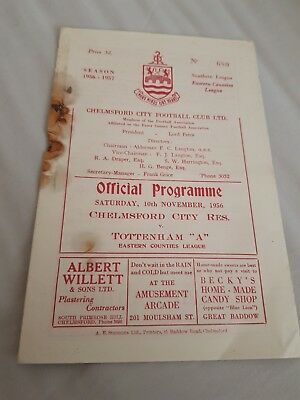1956 - 1957 chelmsford city v spurs tottenham a eastern counties league