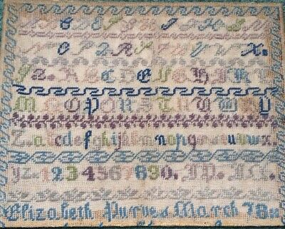 Late 19th Centuary Embroidery Alphabet Sampler Elizabeth Purves