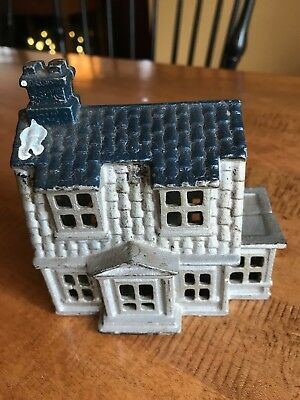Antique Cast Iron Still Coin BANK  Victorian House building late 1800's