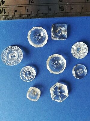 🎀 Assorted Job Lot Of Collectable Old/antique Clear Glass Patterned Buttons. 🎀
