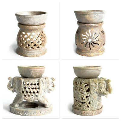 Soapstone Fragrance Oil Burners Aromatherapy Scent Candle Holder Hand Carved