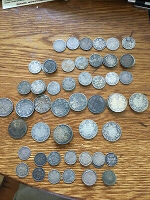 Small Canadian Coin Collection Mainly Sterling 1874-1936 With Better Dates