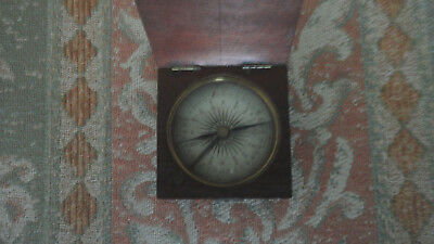 Antique Mahogany Boxed Pocket Compass Paper Dial Working