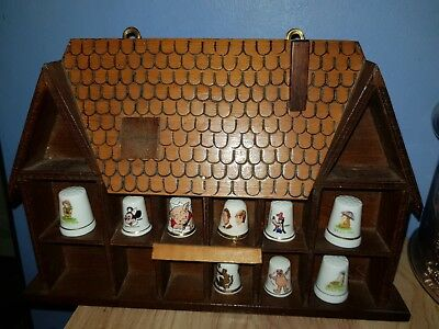 Wooden House Thimble Display Rack / Holder Holds 14 Thimbles, Wall Mountable