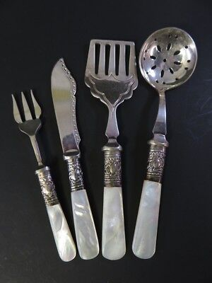 Antique Sheffield 4 Pc Mother Of Pearl Hors Douvres Serving Set