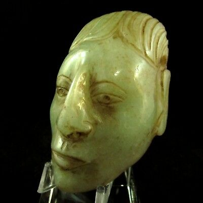 Ancient Pre-Columbian Mayan Translucent Jade Mask Pendant - Private Collection