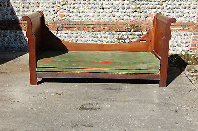 French Antique 19Th Century Solid Mahogany Lit Bateau,sleigh Bed, Single Bed