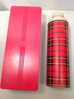 Vintage 1964 King Seeley Plaid Thermos Vacuum Bottle Quart 2442 And Sandwich Box