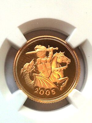2005 Great Britain Gold Half Sovereign NGC PF69 UC (RARE HIGH GRADED COIN)