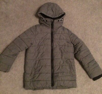 Boys Age 4 Grey Winter Padded Coat Weather Proof Zip And Hood