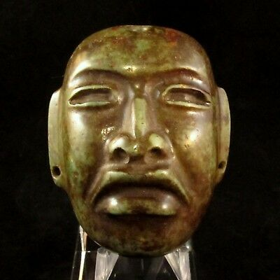 Ancient Pre-Columbian Olmec Jade Stone Mask ~ Private Collection