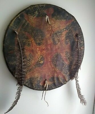 Early Primitive Rawhide 1800's Native American Indian Ceremonial Battle Shield