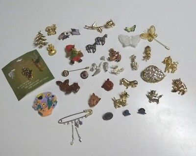Mixed Lot of vintage brooches and pins a bit of everything- 34 in all