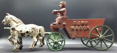 Antique 1920's Cast Iron Dump Wagon Drawn With 2 Horse Team & Driver