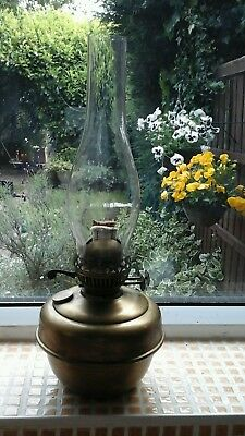 vintage brass oil lamp with duplex twin burners / glass oval chimney
