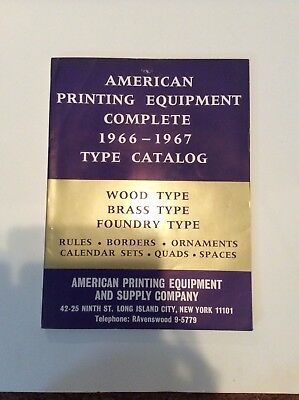 American Printing Equipment 1966-1967 Type Catalog Typeset Kingsley