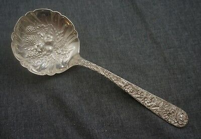 "S. Kirk & Son REPOUSSE Sterling Silver BERRY SERVING SPOON 9 1/4"" - NO Monogram"