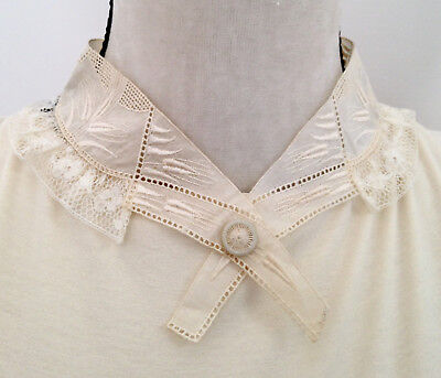 Antique Edwardian French Thistle Design Embroidered Collar