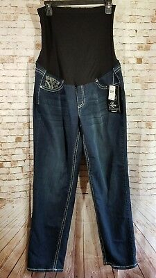 NWT Love Indigo Maternity Jeans Pants Plus SZ 2X Classic Fit Flap Bling Pocket