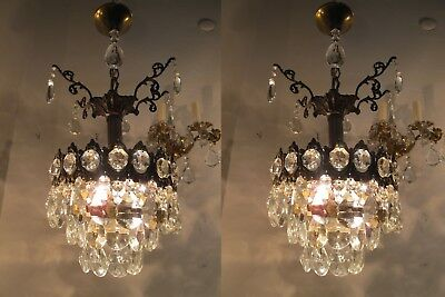 A Pair of Antique Vintage Basket Style Mini Chandelier lamp 1940s 9 in dmtr