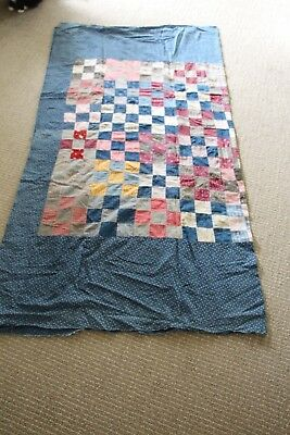 Antique 1800's Fabric Patchwork Quilt Top For Projects