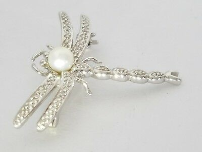 "14K White Gold Pearl & Diamond Dragonfly Pendant Pin 3.4 Grams 1-3/16"" Wide"