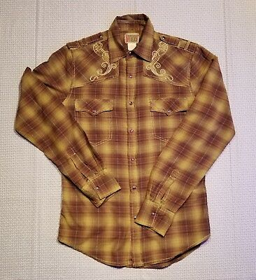 Men's Vintage Red Brand Pearl Snap Plaid Western Shirt Small Embroidered