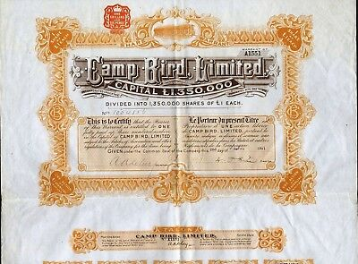 Camp Bird Limited Warrant, 1911 With Talon And 14 Coupons, Quray, Colorado