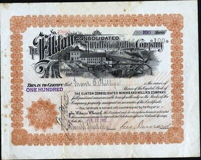 Elkton Consolidated Miing And Milling Co Of Cripple Creek, Co, 1902, Uncancelled