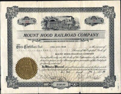 Mount Hood Railroad Co Of Utah, 1927, Uncancelled Stock Certificate
