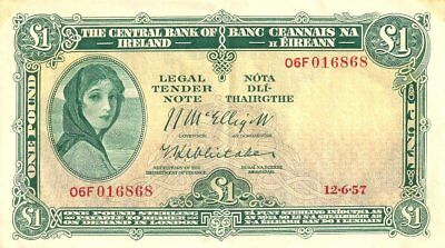 IRELAND CENTRAL BANK OF IRELAND 1 POUND 12/06/1957 PICK:#57d ABOUT EX.FINE