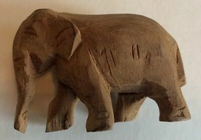 SMALL HAND CARVED WOOD Elephant UNFINISHED UNIQUE Figurine