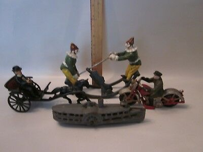 cast iron toy lot vintage antique ship motorcycle carriage teeter horse boat