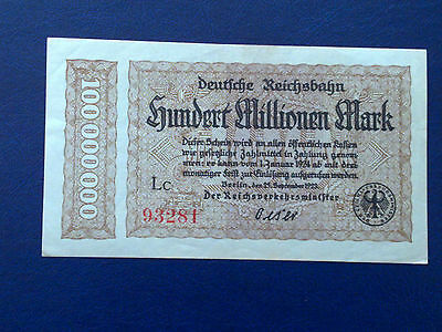 Germany - 100 Million Mark Rail Banknote 1923-Inflation - Almost Uncirculated