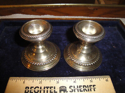 Vintage Sterling Silver Weighted Candlesticks, N.s. Co. Made, 2.75-Inches Tall