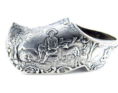 Antique Sterling Dutch Shoe with Figures, Pastoral Scene, Miniature, Hanau, NR