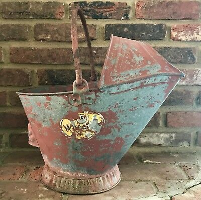 ⭐️Shabby Chic Antique Red Galvanized Metal Ash Can Bucket Coal Scuttle Transfer