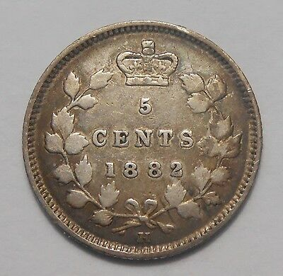 1882H Five Cents Silver F-VF Attractive Very Early Date Queen Victoria Canada 5¢