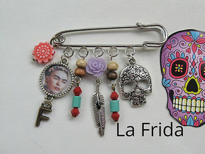 Frida Kahlo Skull pin charms mexican MODERN ART DIEGO RIVERA WIFE mexico  aretes