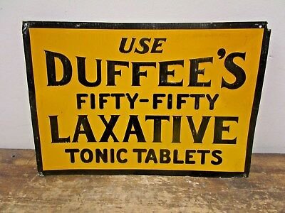 Vintage ORIGINAL Duffee's Laxative Pharmacy Drug Store Sign