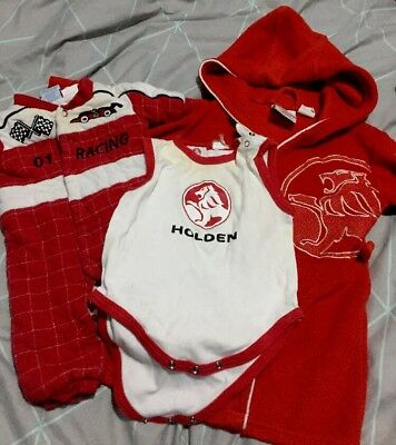 HOLDEN BABY Dressing Gown 1 Body Suit 00 Racesuit 000 RED CARS BATHURST RACING