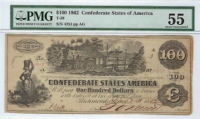 T-39 PF-5 $100 Confederate Paper Money 1862 - PMG About Uncirculated 55!